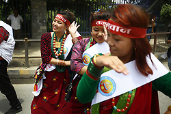 August 9, 2016 - Kathmandu, Nepal - Nepalese people from various ethnic groups perform a traditional dance while taking part in a rally to mark International Day of the World's Indigenous Peoples in Kathmandu, Nepal on Tuesday, August 9, 2016. This day is celebrated worldwide to promote and protect the rights of the world's indigenous population. (Credit Image: © Skanda Gautam via ZUMA Wire)