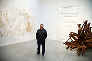Ai Weiwei at the opening of  his new exhibition Ai Weiwei: Roots at the Lisson Gallery, London, United Kingdom on 1st October 2019.