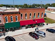 Aerial photograph of Mulholland Grocery, Main Street, Malvern, Iowa, USA.