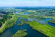 Nederland, Gelderland, Arnhem, 29-05-2019; Nederrijn met uiterwaardenpark Meinerswijk. De uiterwaarden zijn in het kader van het programma Ruimte voor de Rivier gedeeeltelijk afgegraven<br /> View of floodplains and polder Meinerswijk.<br /> <br /> luchtfoto (toeslag op standard tarieven);<br /> aerial photo (additional fee required);<br /> copyright foto/photo Siebe Swart