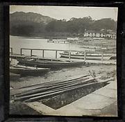 Jetties for landing boats, Lake Windermere at Waterhead, Ambleside, Lake District, Cumbria, England, UK c 1900
