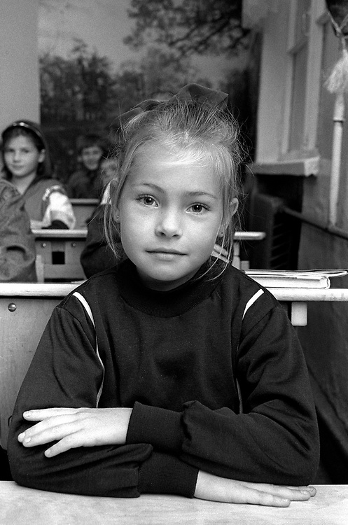 Girl in classroom.<br /> Admiraltiskii Rayon Area<br /> School number 235<br /> St Petersburg, Russia 1994