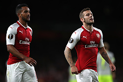 Arsenal's Theo Walcott (left) and Jack Wilshere during the Europa League match at the Emirates Stadium, London.