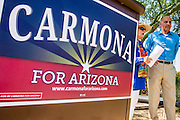29 AUGUST 2012 - PARADISE VALLEY, AZ:   Dr. RICHARD CARMONA, Democratic candidate for US Senate from Arizona, talks to JOANNE GOLDWATER in Barry Goldwater Memorial Park in Paradise Valley, AZ before a press conference Wednesday. Carmona won the endorsements of Joanne Goldwater, daughter of Barry Goldwater, the late legendary Republican Senator from Arizona. He was also endorsed by CC Goldwater, her daughter, and Tyler Ross Goldwater, CC Goldwater's son. Barry Goldwater was from Paradise Valley.   PHOTO BY JACK KURTZ