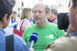 June 1, 2017 - Brussels, BELGIUM - CNE - CNE delegate Yves Hellendorff talks to the press before a meeting between the unions of the Nonprofit sector and the Prime Minister, on Thursday 01 June 2017, in Brussels, during a protest action of the non-profit sector. BELGA PHOTO LAURIE DIEFFEMBACQ (Credit Image: © Laurie Dieffembacq/Belga via ZUMA Press)