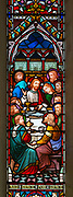 Stained glass window Waldringfield church, Suffolk, England, UK Jesus Christ and  Last Supper c 1864 by Lavers and Barraud