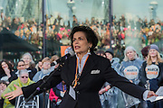 Bianca Jagger makes a passionate speech in fron of a packed audience - Thousands join CARE International's #March4Women campaign in London celebrating International Women's Day.
