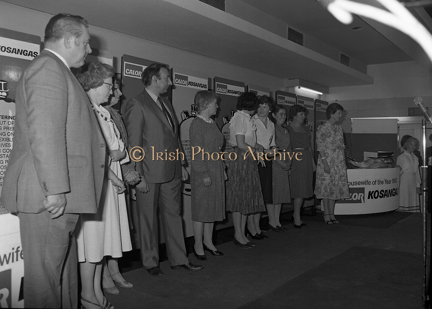 "Calor Kosangas Housewife of the Year - Dublin Regional Final.26/10/1982  26.10.1982..""Calor Kosangas Housewife Of The Year 1982"". Dublin Regional Final..The final was held in the Gresham Hotel,O'Connell St,Dublin. The winner was Mrs.,Deirdre Ryan,Derrypatrick,Drumree,Co Meath..The contestants line up on stage for the announcement of the winner of ""The Housewife Of The Year"""