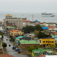 Punta Arenas, Chile, a major port and stopover on the Strait of Magellan.