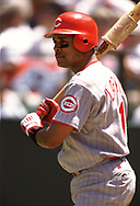 SAN FRANCISCO - 1995: Barry Larkin of the Cincinnati Reds looks on during an MLB game versus the San Francisco Giants at Candlestick Park in San Francisco, California during the 1995 season. (Photo by Ron Vesely) Subject:   Barry Larkin