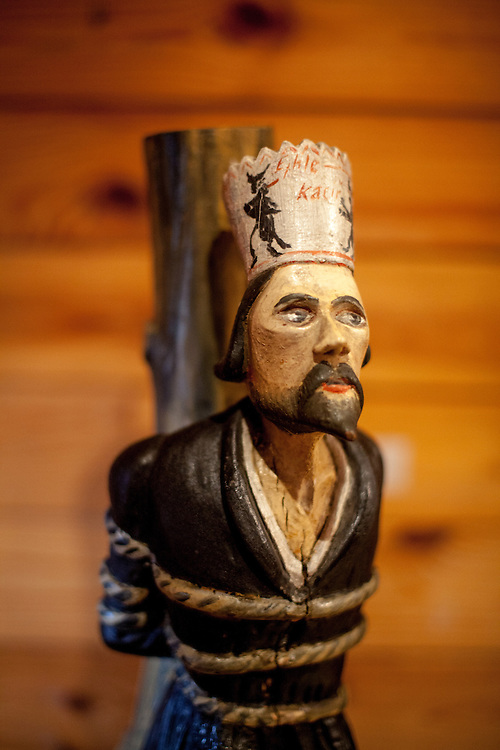 """A wooden sculpture of Jan Hus at the stake exhibited at the house """"Na Sboru"""" in Kunvald. The Unitas Fratrum (Brüdergemeine/Moravian Church) was founded in Kunvald in 1457, when followers of the martyred Jan Hus (John Huss) found refuge on the estate of King George of Poděbrady. Kunvald is a village in 5 km north of Žamberk in the Ústí nad Orlicí District, Pardubice Region of the Czech Republic. It has over 1,000 inhabitants."""