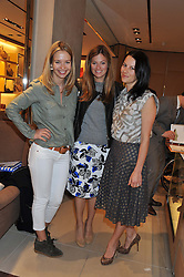 Left to right, MARISSA HERMER, SERENA NIKKAH and JULIET ANGUS at a champagne breakfast hosted by Carolina Gonzalez-Bunster and TOD's in aid of the Walkabout Foundation held at TOD's, 2-5 Old Bond Street, London on 9th May 2013.
