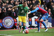 Robbie Brady of Norwich City going past Joel Ward of Crystal Palace. Barclays Premier League match, Crystal Palace v Norwich city at Selhurst Park in London on Saturday 9th April 2016. pic by John Patrick Fletcher, Andrew Orchard sports photography.
