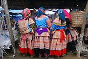Vietnam, Bac Ha Market, Flower Hmong women in traditional dress