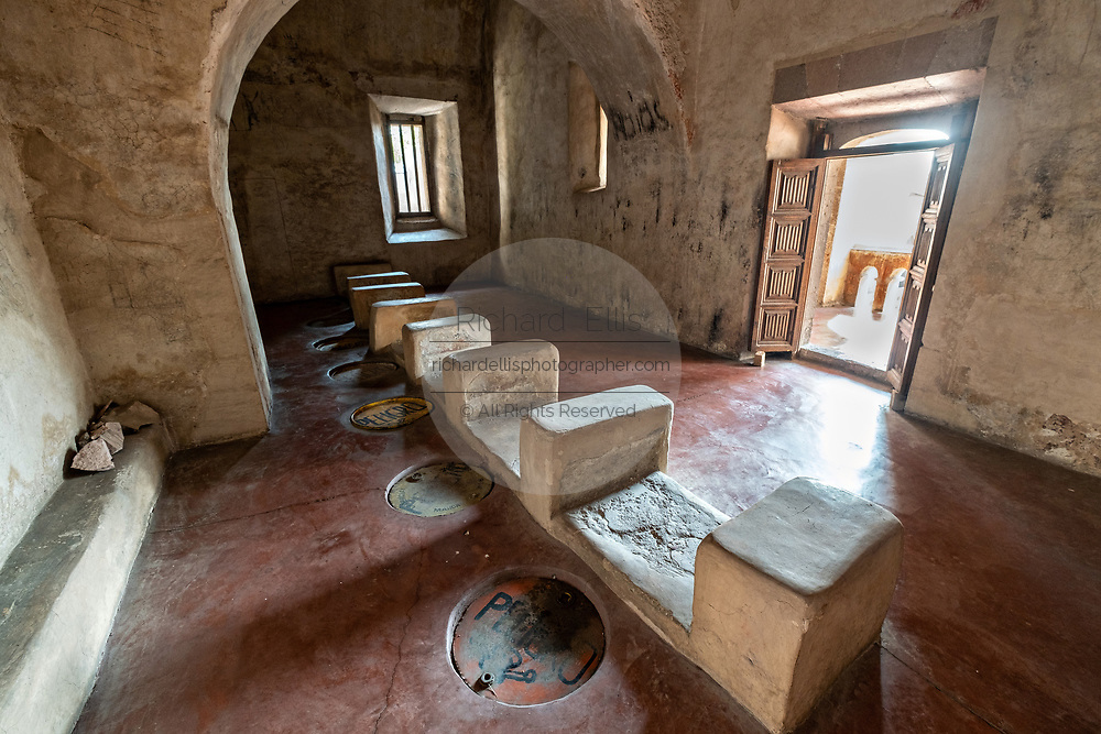 Ancient privy in the San Nicolas Tolentino Temple and Ex-Monastery in Actopan, Hidalgo, Mexico. The colonial church and convent  was built in 1546 and combine architectural elements from the romantic, gothic and renaissance periods.