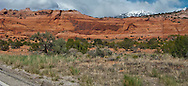 the snowcapped La Sal mountains rise above slickrock along US 191 in Utah