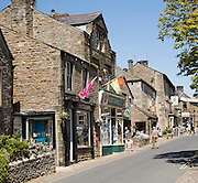 Busy main street in Grassington, Yorkshire Dales national park, England, UK