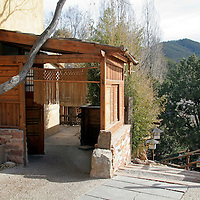 Bamboo entry to Ten Thousand Waves luxury spa in Santa Fe, New Mexico.
