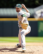 CHICAGO - AUGUST 21:  Zach Neal #58 of the Oakland Athletics pitches against the Chicago White Sox on August 21, 2016 at U.S. Cellular Field in Chicago, Illinois.  The White Sox defeated the Athletics 4-2.  (Photo by Ron Vesely)   Subject:   Zach Neal