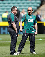 Picture by Andrew Tobin/Focus Images Ltd +44 7710 761829.25/05/2013. Leicester Director of Rugby Richard Cockerill (R) looks on with head coach Matt O'Connor (L) during the Aviva Premiership match at Twickenham Stadium, Twickenham.