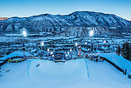 Dusk settles over the superpipe at the Winter X Games 2016 Aspen at Buttermilk Mountain on January 28, 2016, in Aspen, Colorado.