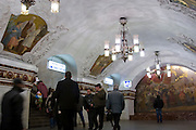 Moscow, Russia, 05/12/2007...The Moscow Metro underground transport system, renowned for its' spectacular Soviet architecture: socialist murals on the platforms at Kievsky station.