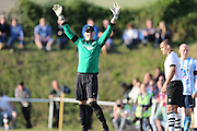 East Preston goalkeeper Darren Ford signals during the FA Vase 1st Qualifying Round match between Worthing United and East Preston FC at the Robert Eaton Memorial Ground, Worthing, United Kingdom on 6 September 2015. The first home match for Worthing United since losing team mates Matthew Grimstone and Jacob Schilt in the Shoreham air show disaster.