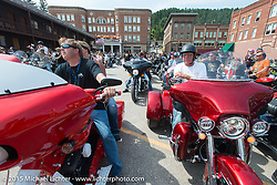 Jamie Denholm before the start of the Legends Ride from Deadwood during the 75th Annual Sturgis Black Hills Motorcycle Rally.  SD, USA.  August 3, 2015.  Photography ©2015 Michael Lichter.