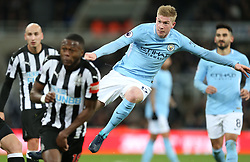 27 December 2017 Newcastle: Premier League Football - Newcastle United v Manchester City : Kevin de Bruyne of City takes a shot.<br /> (photo by Mark Leech)