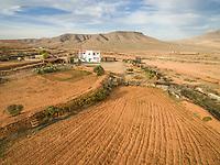 FUERTEVENTURA, CANARY ISLANDS - 13 February 2018 : Aerial view of ranch in dryland of Fuerteventura, Canary Islands.