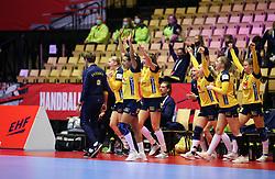 HERNING, DENMARK - DECEMBER 3, 2020: Swedish celebration after the EHF Euro 2020 Group C match between Sweden and Czech Republic in Jyske Bank Boxen, Herning, Denmark on December 3 2020. Photo Credit: Allan Jensen/EVENTMEDIA.