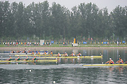 Shunyi, CHINA.  GBR M4-, Bow, Tom JAMES, Steve WILLIAMS, Peter REED and Andy TRIGGS-HODGE,  at the the start of his semi-final in the men's double  sculls, at the 2008 Olympic Regatta, Shunyi Rowing Course. Tuesday 12.08.2008  [Mandatory Credit: Peter SPURRIER, Intersport Images]