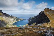 Images from the Lofoten Islands in arctic Norway at midsummer, hiking above Sørvågen