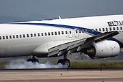 Israel, Ben-Gurion international Airport El-Al Boeing 737 passenger jet landing