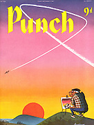 (Mr Punch is painting a watercolour of a magnificent pink and orange sunset is annoyed when a jet planes contrails disturb the sky)