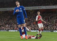 Football - 2017 / 2018 Premier League - Arsenal vs. Chelsea<br /> <br /> Alvaro Morata (Chelsea FC)  shows his frustration after he misses another chance at The Emirates.<br /> <br /> COLORSPORT/DANIEL BEARHAM