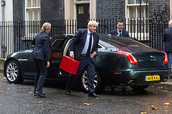 © Licensed to London News Pictures. 14/10/2019. London, UK. British Prime Minister BORIS JOHNSON returns to No.10 Downing St after debating The Queens Speech in Parliament. The speech marked the state opening of Parliament and a new Parliamentary Session. Photo credit: Ray Tang/LNP