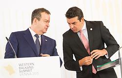 27.08.2015, Hofburg, Wien, AUT, Westbalkan Konferenz, Pressekonferenz der Aussenminister, im Bild v.l.n.r. Außenminister Serbien Ivica Dacic und Außenminister Mazedonien Nikola Poposki // f.l.t.r. Foreign Minister of Serbia Ivica Dacic and Foreign Minister of Macedonia Nikola Poposki during press conference of the foreign ministers during Western Balkans Summit at Hofburg in Vienna, Austria on 2015/08/27, EXPA Pictures © 2015, PhotoCredit: EXPA/ Michael Gruber