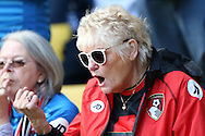 a AFC Bournemouth fan shouts her support. Premier league match, Watford v AFC Bournemouth at Vicarage Road in Watford, London on Saturday 1st October 2016.<br /> pic by John Patrick Fletcher, Andrew Orchard sports photography.