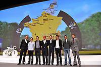 Marcel KITTEL (Ger), Biel KADRI (Fra), Jean Christophe PERAUD (Fra), Tony GALLOPIN (Fra), Alexander KRISTOFF (Nor), Vincenzo NIBALI (Ita), Thibaut PINOT (Fra), during the Presentation of Tour de France 2015, in Paris, France, on October 22, 2014. Photo Tim de Waele / DPPI