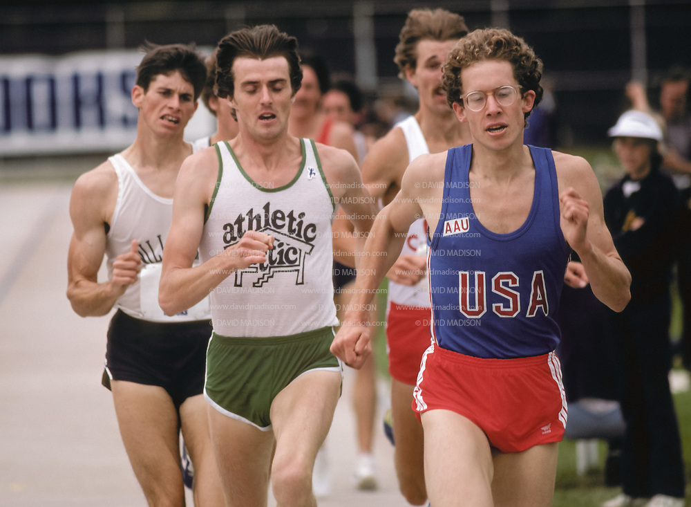BERKELEY, CA -  JUNE 1:  Craig Masback of the USA competes in the 1980 Brooks Invitational track meet held in Edwards Stadium at the University of California in Berkeley, California on June 1, 1980.  Also visible is Don Paige (black shorts, far left).   (Photo by David Madison/Getty Images)