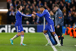 Ruben Loftus-Cheek of Chelsea, making his First Team debut, is substituted on for Cesc Fabregas - Photo mandatory by-line: Rogan Thomson/JMP - 07966 386802 - 10/12/2014 - SPORT - FOOTBALL - London, England - Stamford Bridge - Sporting Clube de Portugal - UEFA Champions League Group G.