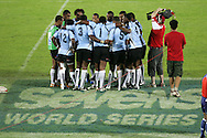 Action from the 2008-2009 opening event in the IRB World sevens series, the Emirates Airline Dubai Sevens 2008 tournament at the new Sevens Stadium in Dubai on 28th/29th November 2008. Fiji