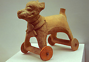 MEXICO, MEXICO CITY, CHAPULTEPEC PARK National Museum of Anthropology; MAYAN CULTURE; ceramic toy of dog on wheels, Late Classic, 5th-8thcAD