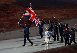 File photo dated 07-02-2014 of Great Britain's Jonathan Eley leads his team mates out during the Opening Ceremony for the 2014 Sochi Olympic Games