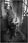 Female nurse and male patient in a wheelchair at West Park abandoned asylum
