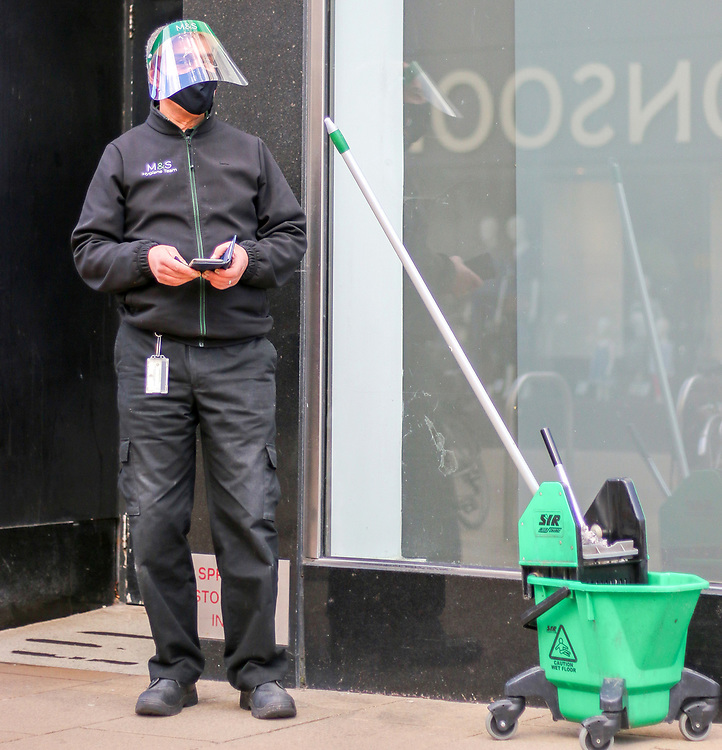 6th March, 2021. Cheltenham, England. A portrait of a Marks and Spencers 'Hygiene Team' employee.
