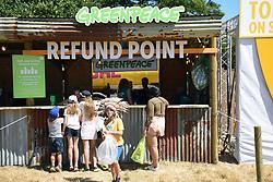 Latitude Festival, Henham Park, Suffolk, UK July 2018. Refund point for plastic glasses and bottles organised by Greenpeace
