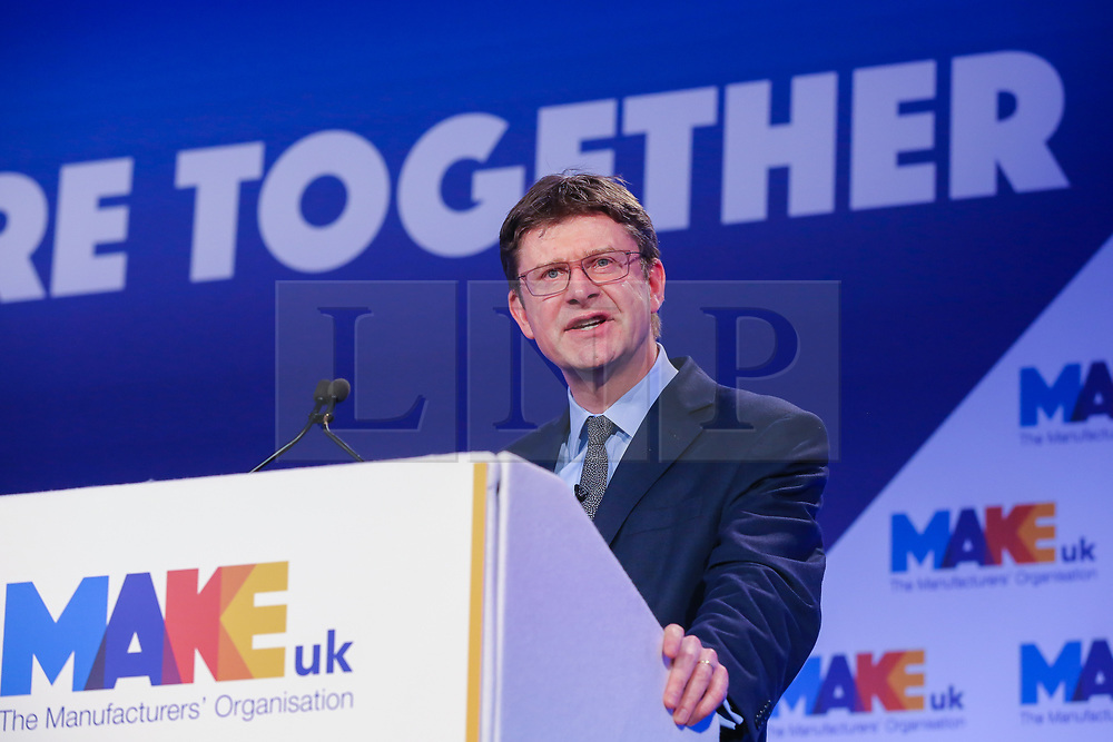 © Licensed to London News Pictures. 01/01/2019. London, UK. Greg Clark - Secretary of State for Business, Energy and Industrial Strategy speaking at the 2019 National Manufacturing Conference. The conference addresses the difficulties and challenges the manufacturing sector will face post-Brexit. Photo credit: Dinendra Haria/LNP