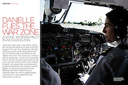 Marie Claire Reportage feature story - Pilot, Danielle Aitchison, taxis a United Nations Humanitarian Air Service Beechcraft 1900D past a US Airforce C-130 at Kabul International Airport.
